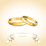 Gold wedding rings. Vector illustration with gold wedding rings and white ribbon Stock Photo