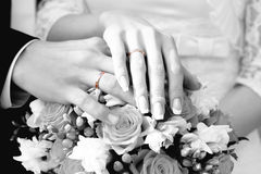 Gold wedding rings. White-black photo Stock Photo