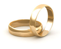 Gold wedding rings Royalty Free Stock Images