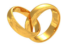 Gold wedding rings. With reflection of a sky. Isolated on white royalty free illustration