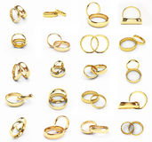 Gold wedding rings. 3d isolated gold wedding rings Royalty Free Stock Photos