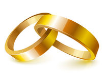 Gold wedding rings. Over white Stock Photos