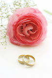 Large pink flower with wedding rings. Gold wedding rings with beautiful flower on white silk background Stock Photography