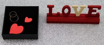 Gold wedding rings in black box royalty free stock photos