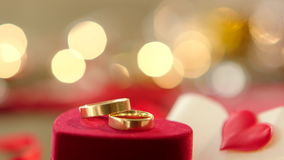 Gold wedding rings with bokeh lights. On the background stock video footage