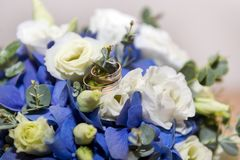 Gold wedding rings on a bouquet of white and blue flowers. Bridal bouquet, wedding bouquet Royalty Free Stock Photography
