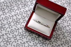 Gold wedding rings in the box with space for text Royalty Free Stock Image