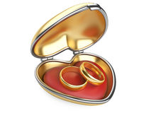 Gold wedding rings in box Stock Photography