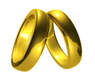 Gold Wedding Rings, Clipping Path. Royalty Free Stock Image