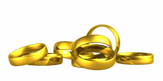 Gold Wedding Rings, Clipping Path. Royalty Free Stock Photography