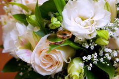 Gold wedding rings on colors Stock Photo