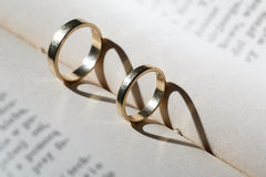 Gold wedding rings Stock Image