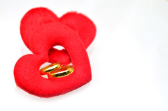 Gold wedding rings in heart Stock Photography