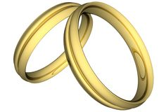 Gold wedding rings. Illustration on withe background Stock Images