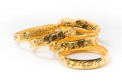 Gold Wedding Rings Isolated on White Stock Photo