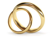 Gold wedding rings jointed. 3d rendered illustration Stock Photos