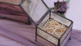 Gold wedding rings lie in a box. Old wedding rings lie in a box. Wedding ceremony stock video