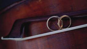 Gold wedding rings macro closeup on bow for violin on a musical instrument diamond jewellery. Jewellery macro highlight wedding rings couple symbol of happiness stock video footage