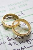 Gold Wedding Rings On Marriage Certificate Stock Image