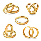 Gold Wedding Rings Pair Vector 3D Realistic Icons Set Stock Image