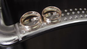 Gold wedding rings. On the pincushion stock video footage