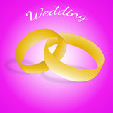 The gold wedding rings on pink background,eps 10. Stock Images