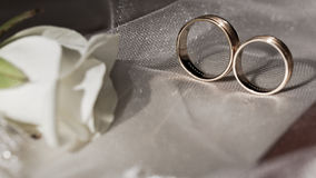 Gold wedding rings with precious stones Stock Image