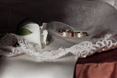 Gold wedding rings with precious stones Royalty Free Stock Images