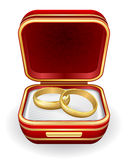 Gold wedding rings in red box. Eps10 stock illustration