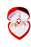 Gold wedding rings on a red box. And white background stock image