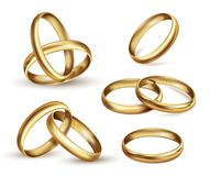 Gold wedding rings set, ceremony gift symbol. Wedding band, finger ring indicates wearer is married. Vector realistic illustration isolated on white background royalty free illustration