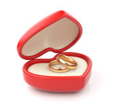 Gold wedding rings in valentine box 3D. Isolated Royalty Free Stock Images