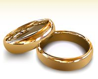 Gold wedding rings. Vector illustration Stock Photo