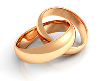 Gold wedding rings on white Royalty Free Stock Images
