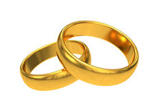 Gold wedding rings on white background Stock Photo