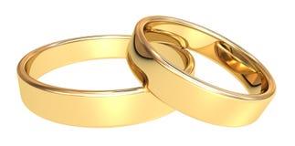 Gold wedding rings. On white background royalty free illustration
