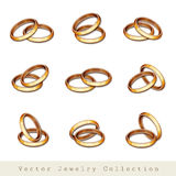 Gold wedding rings on white Stock Images