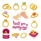 Gold Wedding Wing, Will You Marry Me Text Stock Images