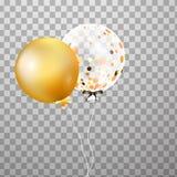 Gold, weißer transparenter Heliumballon in der Luft Bereifte Parteiballone für Ereignisdesign Parteidekorationen für birthd Lizenzfreies Stockbild