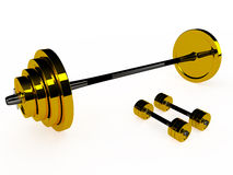 Gold weight and pair of dumbbells, 3D. Isolated gold weight and pair of dumbbells, 3d Royalty Free Stock Images