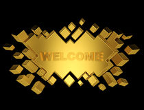 Gold welcome geometric background from cubes. 3d render Royalty Free Stock Photos