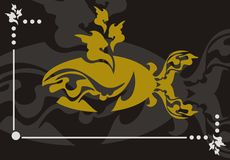 Gold whale. Huge decorative gold whale on a black background - a vector illustration Stock Photo