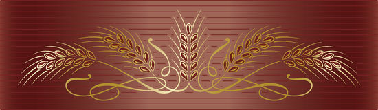 Gold wheat ears on elegant brown background. Vector decoration gold ripe wheat ears on elegant brown background. Can be used as border or frame decorative Royalty Free Stock Photo