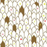 Gold and white abstract houses seamless vector pattern. Royalty Free Stock Image