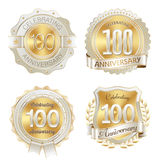 Gold and White Anniversary Badges 100th Years Celebration Royalty Free Stock Photo