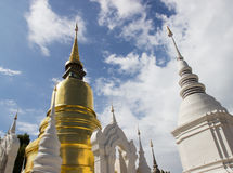 Gold and white asian pagoda. Gold and white old asian pagoda in Thailand Royalty Free Stock Photo