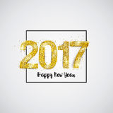 Gold 2017 on white background. Happy New Year 2017 Golden Greeting Card. Party poster, greeting card, banner or invitation. Number 2017 formed by glowing gold Stock Photos