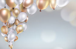 Gold and white balloons Stock Image