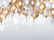 Gold and white balloons. Festive background with gold and white balloons Royalty Free Stock Photo