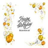 Gold and white balloons set Stock Photo